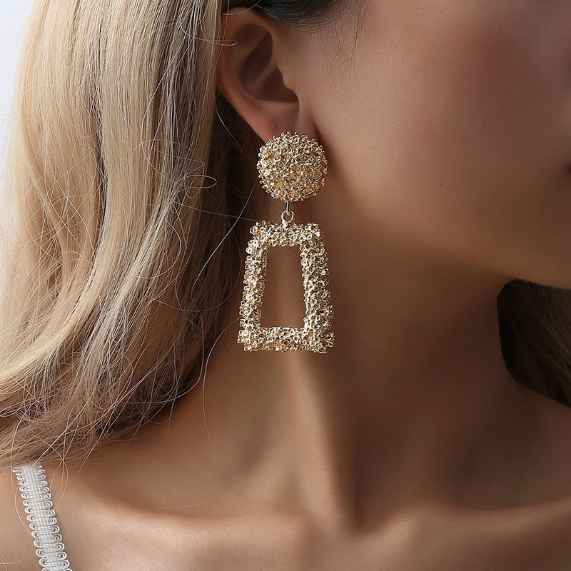 fashion exaggerated frosted hipster geometric earrings NHDP301150
