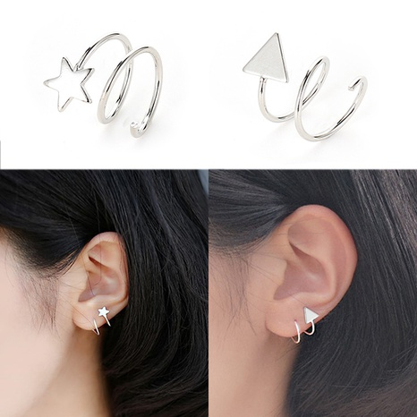 Silver star heart earrings  NHDP301154's discount tags