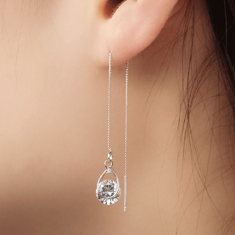 Korea fashion zircon water drop tassel earrings NHDP301156