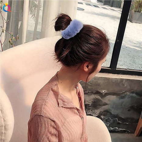 Soft rabbit-like hair scrunchies cute furry hair accessories for women NHQC301685's discount tags