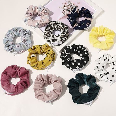 Hot sale zipper large intestine hair scrunchies wholesale NHQC301684's discount tags