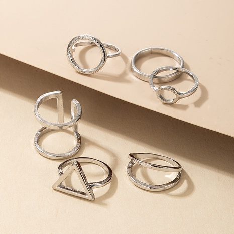 fashion geometric circle triangle silver rings NHGY301767's discount tags