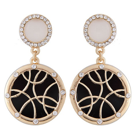fashion metal flash diamond round exaggerated earrings NHSC301766's discount tags