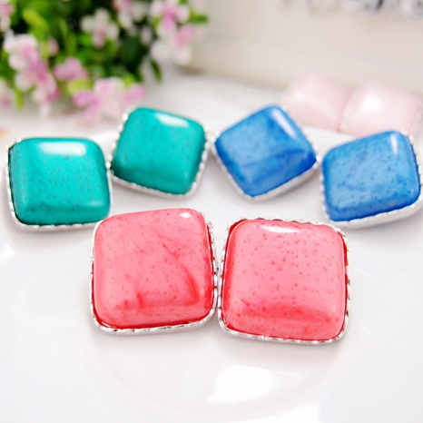 fashion pink square earrings  NHGE301167's discount tags