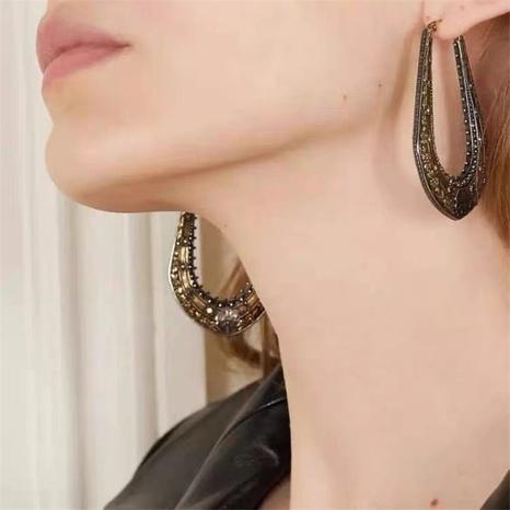 dark brass baroque carved U retro earrings NHYQ301210's discount tags
