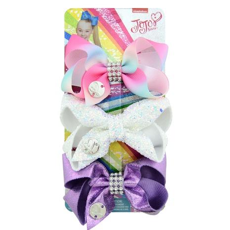 horquilla de lazo de color brillante de diamante de fila de tarjeta láser para niños NHMO301225's discount tags