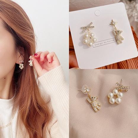 Cartoon bear pearl micro-inlaid alloy earrings  NHHI301351's discount tags