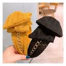 Korea fashion embossed plain widebrimmed big bow headband  NHHD301364