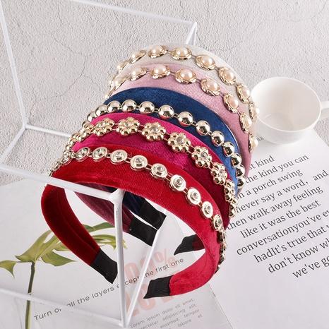 Diadema coreana de perlas simples NHAQ301467's discount tags