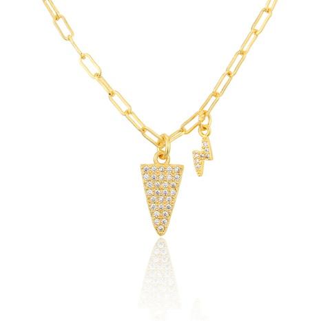lightning diamond triangle pendant zirconium necklace  NHBP301518's discount tags