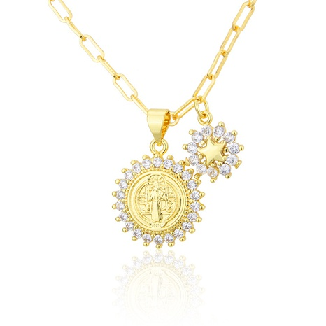 round gold-plated inlaid zirconium snowflake pendant necklace NHBP301519's discount tags