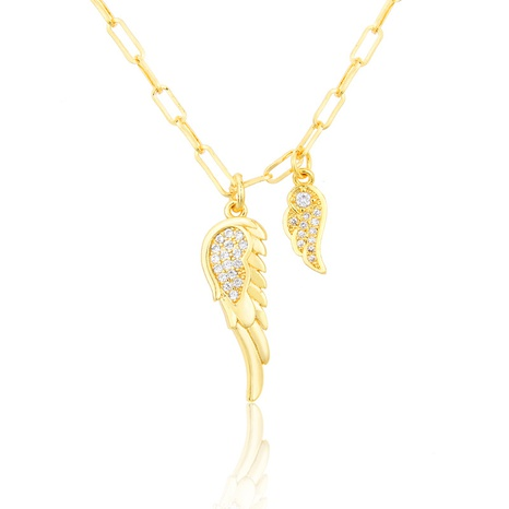 inlaid zirconium gold-plated feather copper pendant necklace NHBP301520's discount tags