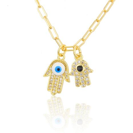 gold-plated zirconium palm pendant necklace NHBP301521's discount tags