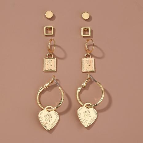 metal portrait heart pendant earrings set NHAN301525's discount tags
