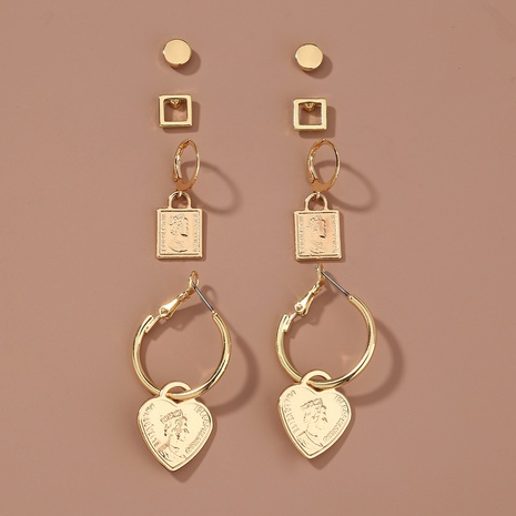 metal portrait heart pendant earrings set NHAN301525's discount tags