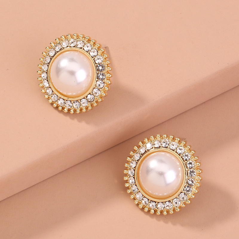 simple round pearl diamondstudded earrings NHAN301528