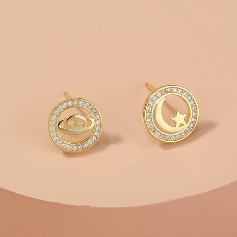 asymmetrical star and moon earrings  NHAN301530's discount tags