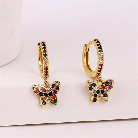 exquisite copper inlaid zirconium butterfly earrings NHLA301545's discount tags