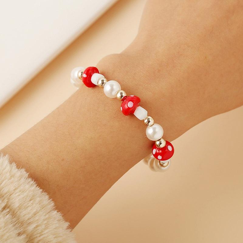 Bohemian fashion beaded pearl mushroom bracelet  NHLA301552