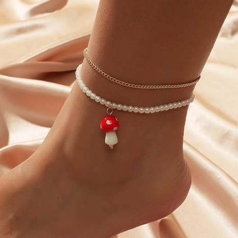 Bohemian Pearl Mushroom Multilayer Anklet NHLA301554's discount tags