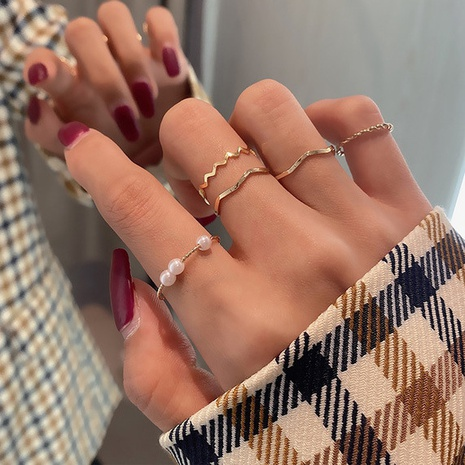 simple pearl fashion rings five-piece set NHBQ301568's discount tags