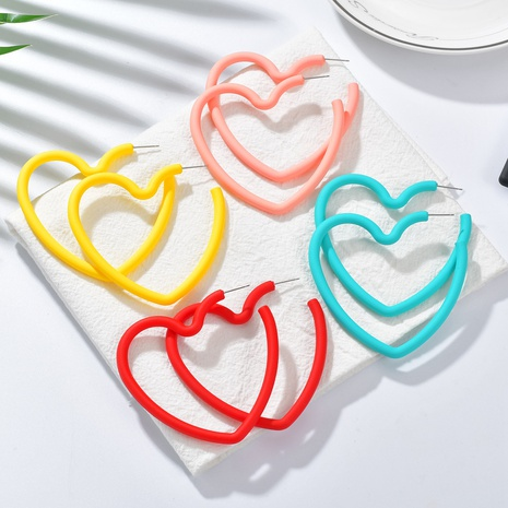 fashion heart-shaped plastic candy color earrings NHBQ301572's discount tags