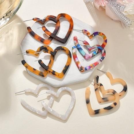 leopard fashion heart-shaped earrings NHBQ301575's discount tags