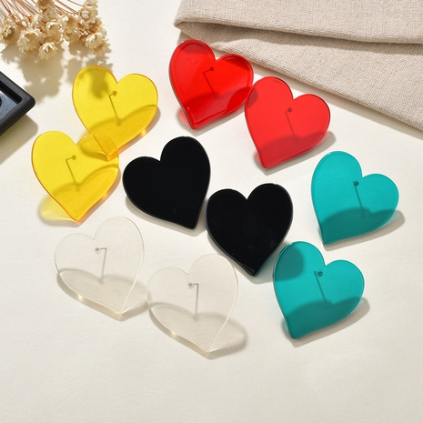 transparent heart hypoallergenic earrings  NHBQ301580's discount tags
