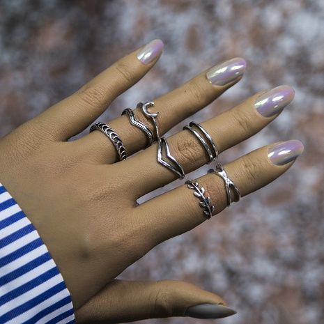 simple leaf crescent wheat retro rings set NHBQ301582's discount tags