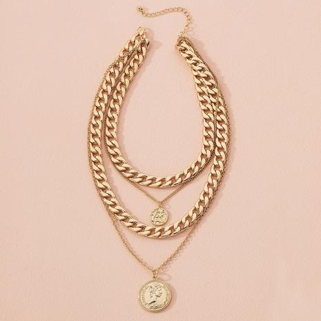 portrait coin pendant necklace NHAI301597's discount tags