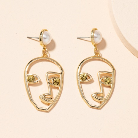 abstract face diamond pearl earrings NHAI301601's discount tags