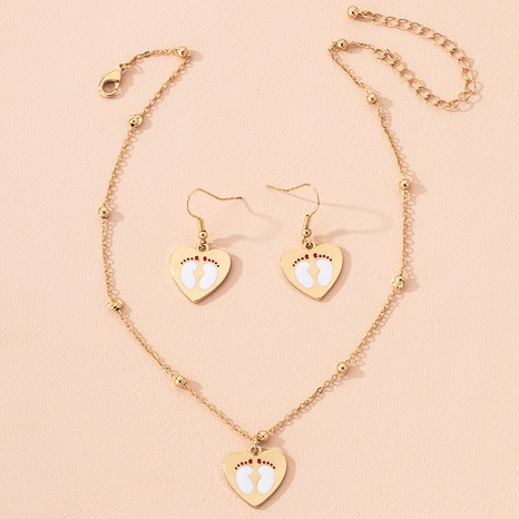 cute heart pendant earrings necklace NHAI301609's discount tags