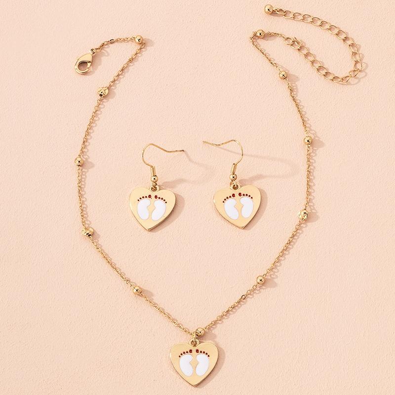 cute heart pendant earrings necklace NHAI301609