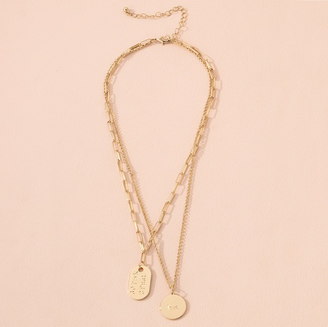 retro gold coin pendant double layer necklace NHAI301617's discount tags