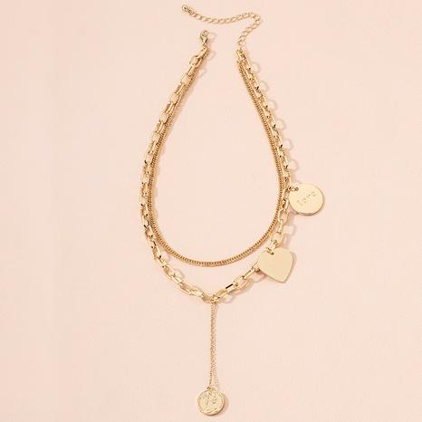 fashion letter gold coin portrait pendant necklace NHAI301627's discount tags
