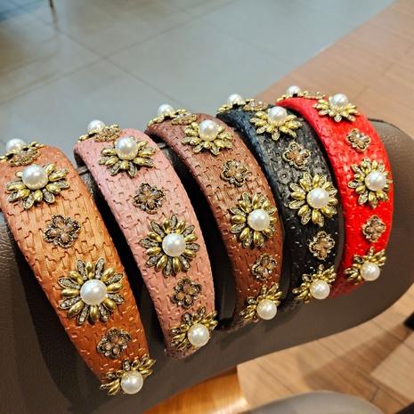 diadema de aleación de perlas de cuero de moda NHUX301639's discount tags