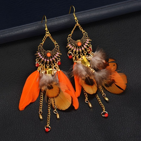 fashion feather pendant earrings  NHDM301641's discount tags