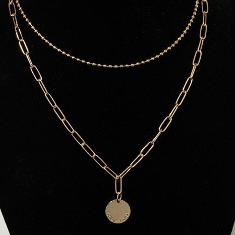 alphabet coin multilayer necklace NHQJ301677's discount tags