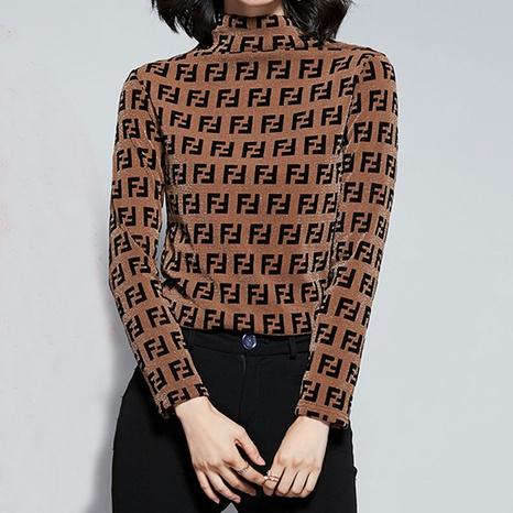 Top lettre à col montant chaud mode coréenne NHKO301710's discount tags