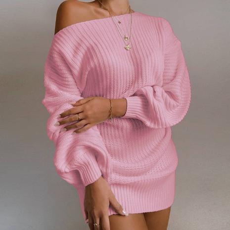 nouvelle robe pull décontractée sans bretelles à manches lanterne NHJG301708's discount tags