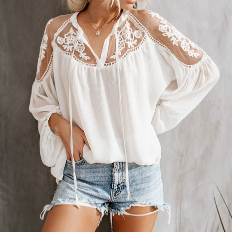 new sexy perspective V-neck lace shirt  NHJG301707's discount tags