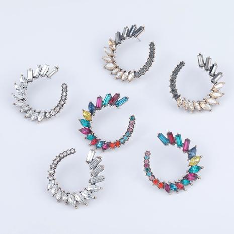 Fashion C-shaped alloy diamond-studded earrings  NHJE290500's discount tags