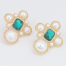 alloy diamond imitation pearl earrings  NHJE290510