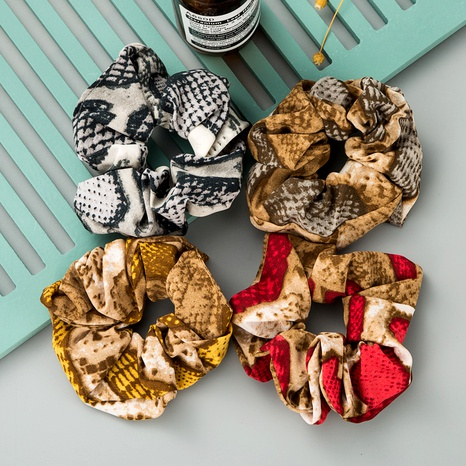 fashion mixed color flower fabric retro hair scrunchies NHLN290532's discount tags