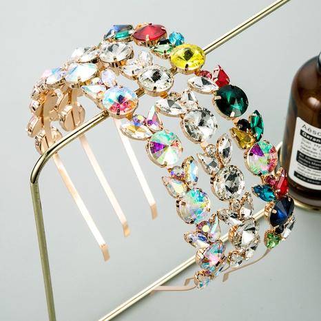 fashion metal diamond-studded retro headband  NHLN290534's discount tags