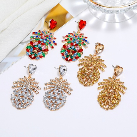 fashion diamond pineapple alloy earrings NHLN290544's discount tags