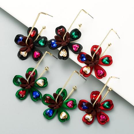 colorful rhinestone flower long earrings NHLN290548's discount tags