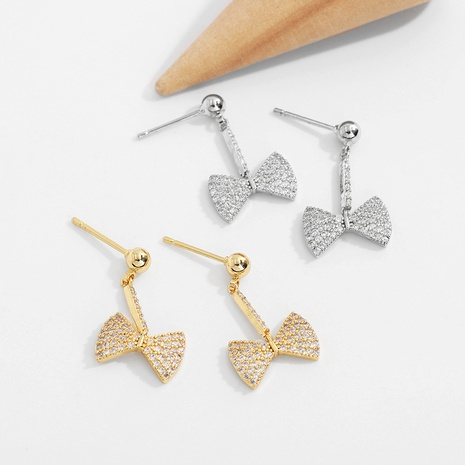 simple fashion diamond bow S925 silver needle copper inlaid zirconium earrings NHJQ290553's discount tags