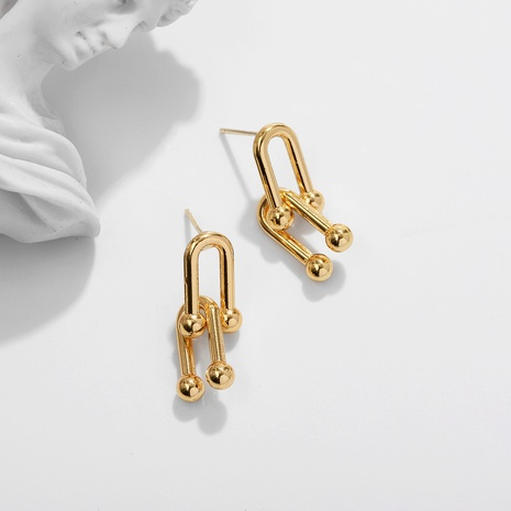 golden copper inlaid zirconium earrings  NHJQ290555's discount tags