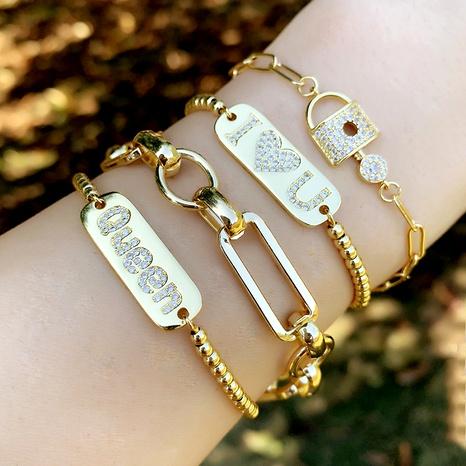 diamond queen letter bracelet  NHAS290566's discount tags